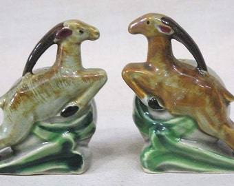 Vintage Pair Art Deco Leaping Gazelle and Ball Salt & Pepper Shakers Cork Stoppers Made in Japan