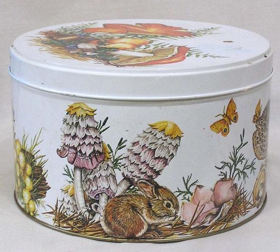 Vintage Decorated Kitchen Display Tin Mushrooms Forest Animals