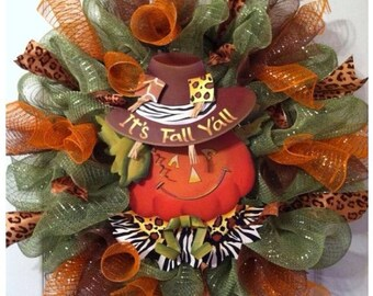 Fall Wreath/ Scarecrow Wreath/ Happy Fall Y'all Wreath/ Thanksgiving Wreath / Fall Mesh Wreath