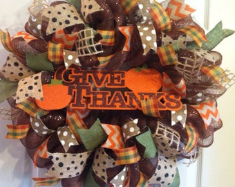 Thanksgiving Wreath/ Fall Wreath/ Deco Mesh Wreath/ Give Thanks Wreath/ Harvest Wreath/ Pumpkin Wreath/  Fall Door Decor