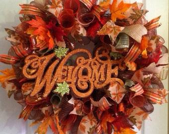 Fall Wreath/ Thanksgiving Wreath/ Mesh Wreath/ Fall Deco Mesh Wreath/  Glittery Welcome Fall Wreath/ Fall Door Decor/ Front Door Wreath