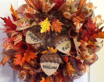 Fall Wreath/ Thanksgiving Wreath/ Mesh Wreath/ Fall Deco Mesh Wreath/ Fall Door Decor/ Front Door Wreath