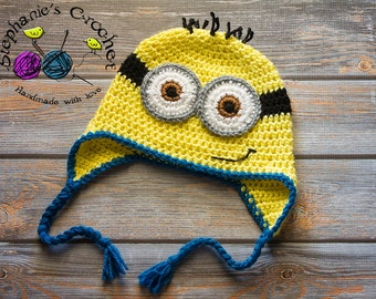 Crochet boy Minion Inspired hat photography prop infant baby hat newborn boy photo prop crochet baby hat- Made to order