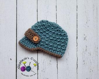 Crochet Newborn boy newsboy hat visor brim hat crochet Newborn photo props photography boy-Made to order
