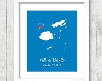 8x10 Fiji Love Map - Turtle Island, Fiji - South Pacific - Destination Wedding - Island Wedding - Engagement - Newlyweds - Honeymooners