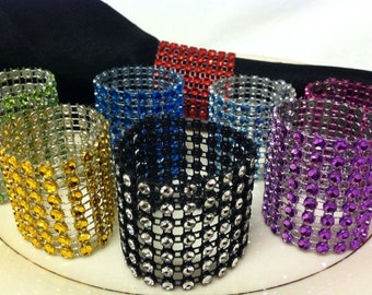 12 Simulated Rhinestone Bling Napkin Rings Party or Home New You Pick Color