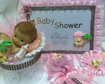 Baby Shower Pink Girl or Blue Boy Giraffe Party Set Guest Book Centerpiece Badge Corsage You Pick Item