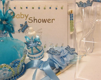 Baby Shower Blue Baby Boy Prince Set Guest Book Crown Badge Corsage Favors