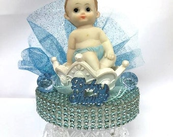 Baby Shower Boy Princes Crown Centerpiece Cake Topper Decoration