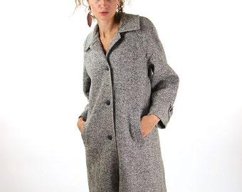 Grey winter coat, feminine overcoat, vintage wool coat, wool jacket, warm retro coat, 38, M , winter fashion.