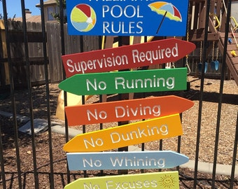 Pool Rules Engraved Wood Signs Set of 7 Personalized