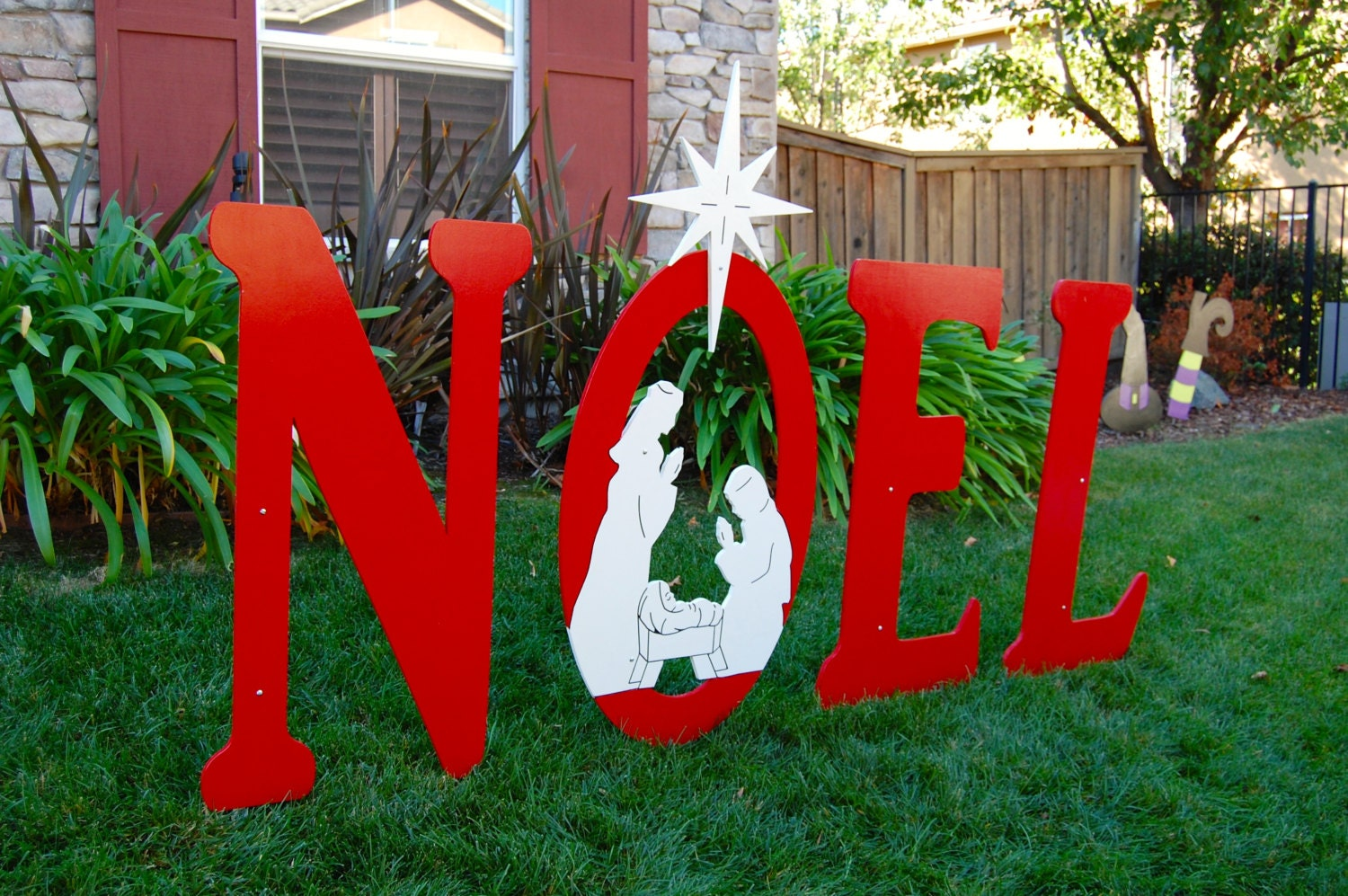 Noel christmas sign with engraved nativity yard art sign large for Large outdoor christmas signs