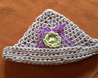 100% USA Grown Cotton Six Month old Baby hat decorated with jute bird's nest, fresh water pearl eggs, and purple organza ribbon