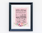 Hold Her a Little Longer Print - Pink and Pink Chevron Baby Girl Nursery Sign Wall Art - Multiple Colors and Sizes - Baby Shower gift