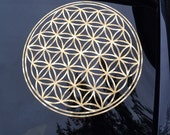 Gold 3d lens flower of life decal