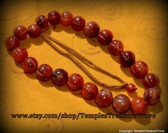 Antique Afghani Carnelian Melon Trade Beads Necklace Imported from Kathmandu Earthquake Relief