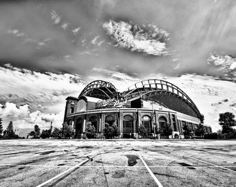 Milwaukee Miller Park Photography - Home of the Milwaukee Brewers, a Black & White Photograph of Miller Park Stadium - 8x10 photo
