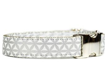 Silver Geometric Dog Collar - Metallic Grey and White Geometric Wedding Dog Collar with Metal Buckle