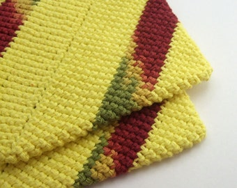 Yellow and Striped Mixed Colored Double Thick Crochet Pot Holders-----set of 2