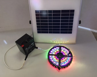 Solar Powered 5050 RGB LED Strip Light Kit 44 key Remote (Waterproof, 300 LEDs, 16.4ft, Solar Powered)