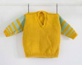 Boys Mustard Sweater, V Neck, Stripped Green Arms, Mustard, Mustard Sweater, Stylish Hand Knit Sweater, Hand Knit, Hand Knitted Sweater