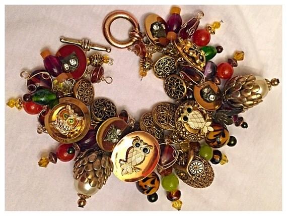 Handmade OOAK Cha Cha Charm and Vintage Button Bracelet, Owl Buttons, Charms Chunky bracelet, Autumn Bracelet