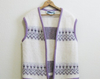 Scotland Wool Vest Purple Large Pringle Scotland - Large - Made in Iceland