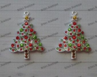 50mm Christmas Tree Rhinestone Pendant