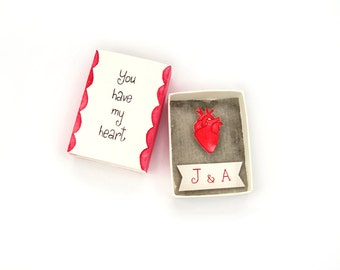 Personalized boyfriend girlfriend gift, anatomical heart, Valentine's gift, matchbox paper diorama, unique couples gift, you have my heart