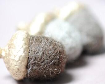 6 Felted Acorn copper felted pendant wool merino