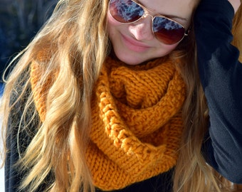 Free Shipping – Infinity knitted scarf, hand knit cowl, oversized snood, blue, pink, yellow, wraps up 3 times