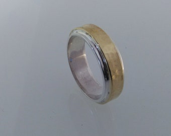 Sterling silver and Brass wedding band. Men's and Ladies wedding band.