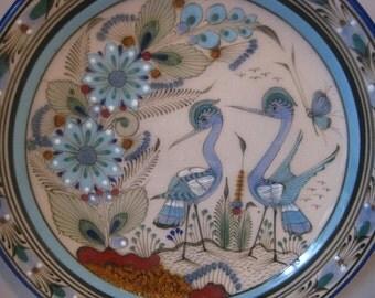 Vintage Mexican Tonala Large Decorative Plate Cranes Birds Ken Edwards Signed
