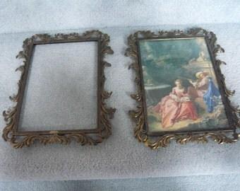 "Vintage PAIR  Italian  Brass Picture Frames 8 3/4"" X  6 1/2"""