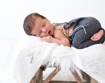 Charcoal Gray Newborn Romper, Photo Prop