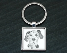 Great Dane - Dog Key Ring - Photo Key Chain - Dog Art Charm - Digital Portrait Keyring -  Harlequin Dane - Dog Lover
