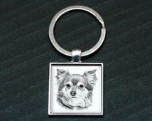 Long Hair Chihuahua -  Chihuahua Key Ring - Photo Key Chain - Dog Art Charm - Digital Portrait Keyring -  Harlequin Dane - Dog Lover
