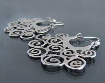 Unique silver earrings, silver hoop earrings, unique earrings, metalsmith earrings, statement earrings, artisan jewelry, bridesmaid earrings