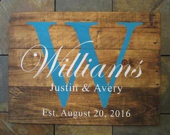 Wedding Established Wood Sign, Gift for Couple, Custom Name Sign, Family Established Name Wood Sign, Rustic Pallet Name Sign, Wedding Gift