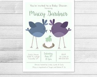 Bird's Nest Baby Shower Invitation, Gender Neutral Digital Printable Invite Green, Egg, Momma bird, Daddy bird