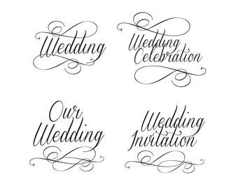 Script wedding invitation wording clip art in classic black