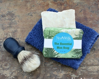 Man Soap, Natural Vegan Soap for Men, Men's Essential Oil Soap, Organic Soap for Men, Rhassoul Clay Shaving Soap, Woodsy Soap for Manly Men