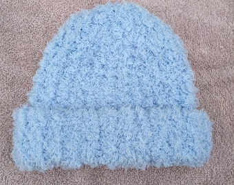Hand Knit Fuzzy Blue Baby Hat - Newborn