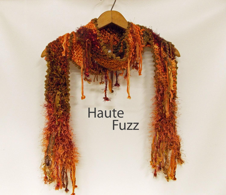 fiber knit scarf autumn colors multi color and