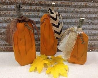 Set of 3 handmade wood wooden pumpkins with burlap ribbon - Fall decorating Holiday decor