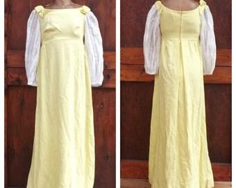 Vintage 1960s Priscilla of Boston Gown Yellow Linen Maxi Medieval Renaissance Dress Edwardian Dress Prom Wedding Gown 60s Hippie Folk Dress