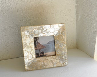 Capiz Shell Picture Frame Sea Shell Ocean Cottage Chic Beach Style