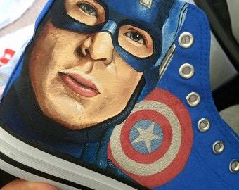 Custom Painted Hi Top Canvas Avengers Shoes