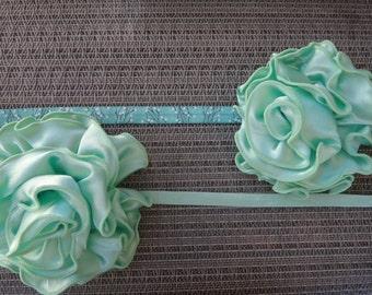 mint headband, newborn, infant, toddler, photo prop, glitter, elastic, lace headband, MORE ELASTIC OPTIONS!