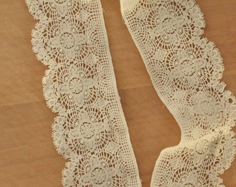vintage style cotton lace trim in ivory ,crochet and scallop lace trim 2 yards